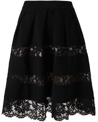 Valentino Stretch Knit Cotton and Lace Skirt - Lyst