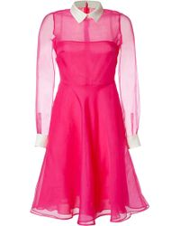 Valentino Hot Pink Sheer Silk Shirtstyle Dress - Lyst