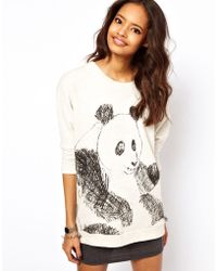 ASOS Collection Sweatshirt with Sketchy Panda white - Lyst