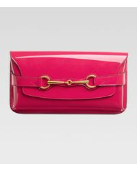 Gucci Bright Bit Patent Leather Clutch Bag - Lyst