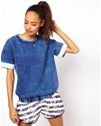 ASOS Collection Asos Sweatshirt with Acid Wash blue - Lyst
