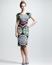 Dolce & Gabbana Ceramicprint Capsleeve Dress - Lyst