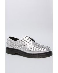 Dr. Martens The Harlen All Stud 3eye Shoe in Siver - Lyst