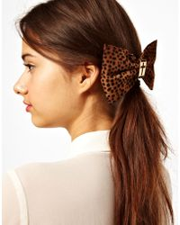 River Island - Cut Out Leopard Bow Hair Slide - Lyst