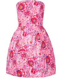 Topshop Rose Print Lantern Dress - Lyst