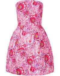 Topshop Rose Print Lantern Dress pink - Lyst