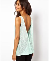 ASOS Collection Asos Vest in Cut and Sew with Open Twist Back green - Lyst