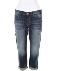 Current/Elliott The Cropped Roller Jeans in Faded Blue Denim - Lyst