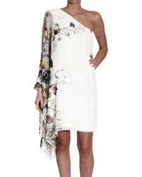 Gucci One Shoulder Silk Flora Print Dress - Lyst