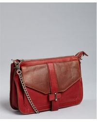 Kelsi Dagger Red and Brown Color Block Leather Mara Crossbody - Lyst