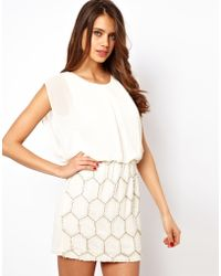 TFNC Dress with Jewelled Skirt and Chiffon Top - Lyst