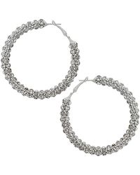 Topshop Rhinestone Hoop Earrings - Lyst
