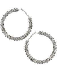 Topshop Rhinestone Hoop Earrings silver - Lyst
