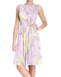 Versace Sleeveless Jersey Printed Dress - Lyst