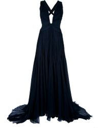 Roberto Cavalli Draped Evening Dress - Lyst