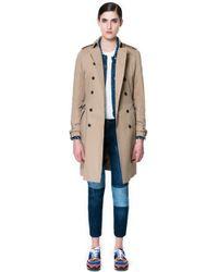 Zara Double Breasted Raincoat - Lyst