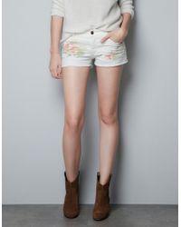 Zara Printed Shorts - Lyst
