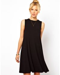 Asos Sleeveless Swing Dress black - Lyst