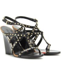 Burberry Towney Studded Leather Wedges black - Lyst