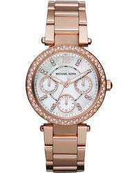 Michael Kors Minisize Parker Multifunction Watch Rose Golden - Lyst