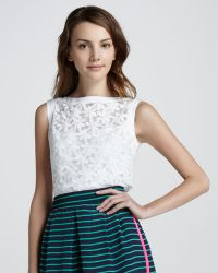 Nanette Lepore Sunday Morning Floral mesh Top - Lyst