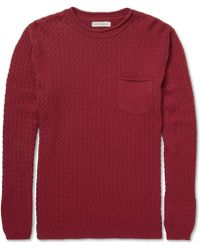 Oliver Spencer Lattice-knit Cotton Crew Neck Sweater - Lyst