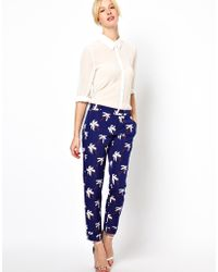 Boutique by Jaeger - Palm Tree Tailored Trousers - Lyst