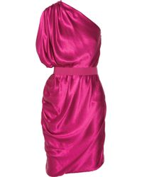 Lanvin Asymmetric Draped Silksatin Dress - Lyst