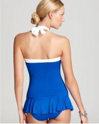 Lauren by Ralph Lauren Swimsuit Bel Air Solids Shirred Halter Skirted - Lyst