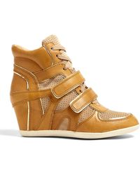 Ash Natural and Platine Bixi Leather Wedge Trainers - Lyst