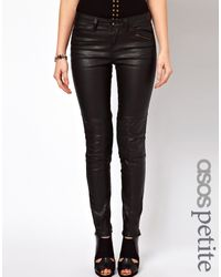 Asos Premium Coated Skinny Biker Jean with Ruched Panel Detail - Lyst