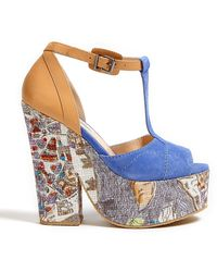 Carven Paris Map Print Platform Tbar Sandals - Lyst