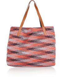 M Missoni - Printed Knitted Cotton Tote - Lyst