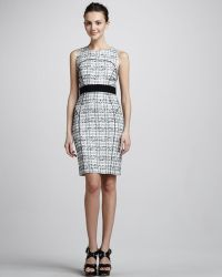 Milly Piped Plaid Sheath Dress - Lyst
