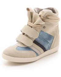 Serafini Manhattan Wedge Sneakers with Denim - Lyst