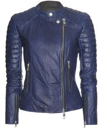 Closed Eastcastle Leather Jacket blue - Lyst