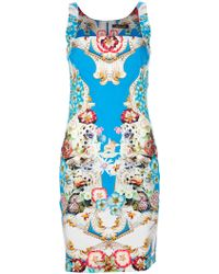 Roberto Cavalli Sleeveless Floral Print Dress - Lyst