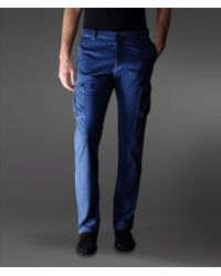 Armani Blue Cargo Pants in Cotton - Lyst