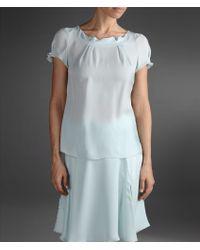 Emporio Armani Short Sleeved Silk Blouse Gathered Neck - Lyst