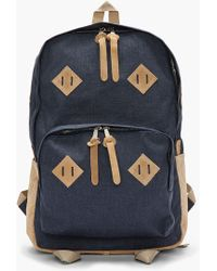 White Mountaineering - Navy Water Repelling Canvas and Suede Backpack - Lyst