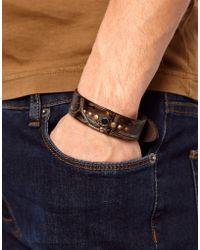DIESEL - Amsci Leather Bracelet - Lyst