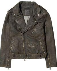 Lot78 - Washed Leather Biker Jacket - Lyst