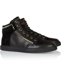 Mulberry - Studded Suede and Texturedleather Sneakers - Lyst