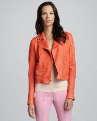 Theory Elenian Fabric Moto Leather Jacket - Lyst