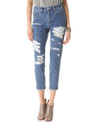 Washborn - Destroyed Boyfriend Jeans with Floral Patches - Lyst