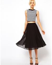 ASOS Collection Asos Midi Skirt with Pleats - Lyst