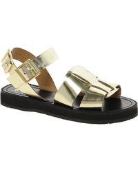 Asos Asos Faris Leather Flat Sandals - Lyst
