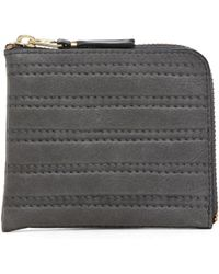 Comme des Garçons Embossed Stitch Small Zip Wallet in Grey - Lyst