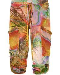 Matthew Williamson - Tropical-print silk-mousseline pants - Lyst