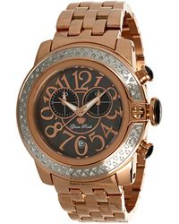 Glam Rock - Sobe 44mm Rose Gold Plated Watch with Diamonds - Lyst